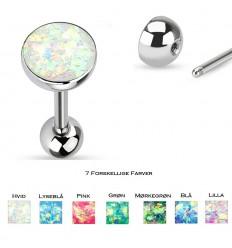 Tungepiercing med Syntetisk Glimmer Opal