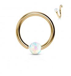 Farvet Ring med Fastmonteret Hvid Opalite