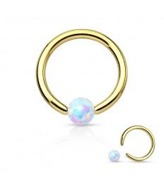 Farvet Ring med Hvid Opalite