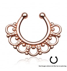 Rose Gold Fake Septum med Tribal Kant
