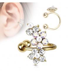 Guldbelagt Earcuff med krystal Blomster