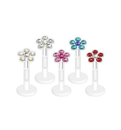 Labret i PTFE med krystal blomst