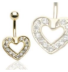 Navlepiercing med guldbelagt hjerte