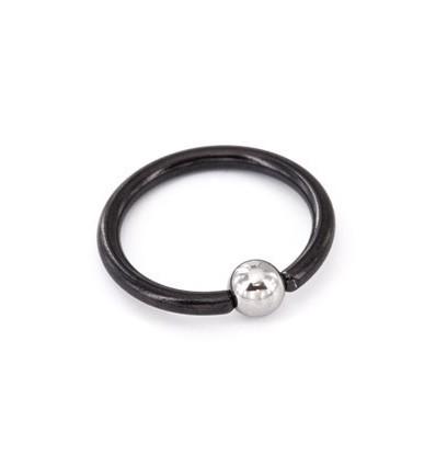 Sort Titanium Ring med Stål Kugle