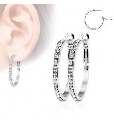 Hoops Øreringe med Små Sten
