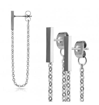 Øreringe med Bar og Kæde