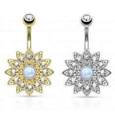 Navlepiercing med Krystalblomst og Opal Sten