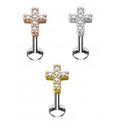 Labret med Krystal Kors