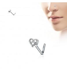 Næsesmykke med Krystal Hjerte