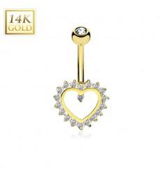 Navlepiercing af Ægte Guld med Krystal Hjerte