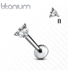 Labret i Titanium med Trekantet Sten