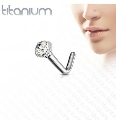 Næsepiercing i Titanium med Rund Klar Sten
