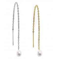Øreringe med Kæde og Perlekugle