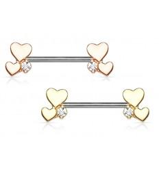 Brystpiercing med 2 Hjerter og Sten