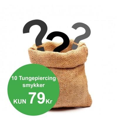 Pakke med 10 forskellige Tungepiercinger