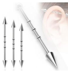 Industrial Piercing med Spikes og 3 Cirkler