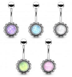 Navlepiercing med Blomst og Lys Opalite