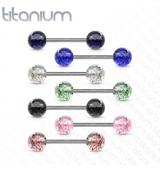 Tungepiercing i titanium med glimmer kugle