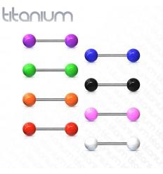 Tungepiercing i titanium med akryl kugle