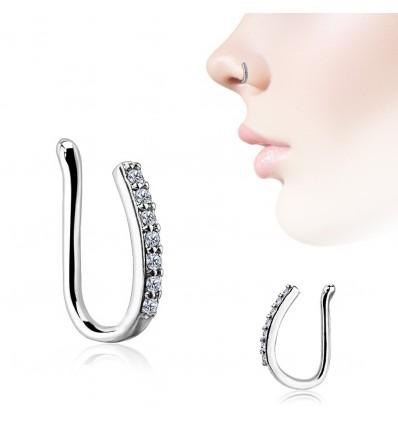 Fake Piercing Ring med Krystal Bar