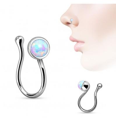 Fake Piercing Ring med Opalite Sten