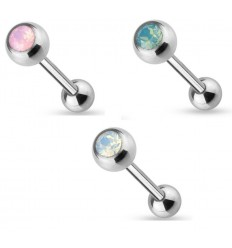 Tungepiercing med Opal Sten