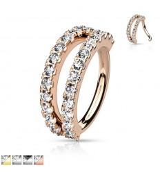 Piercing Ring med Dobbelt Sten Række