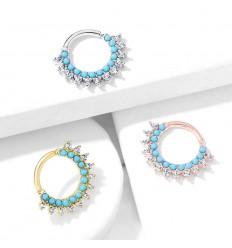 Piercing Ring med Krystal Spidser og Turkise Sten