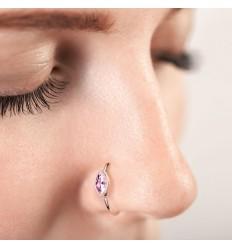 Piercing Ring med Klar Marquise Sten