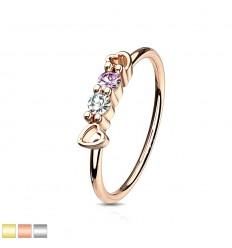 Piercing Ring med Hjerte og 2 Sten