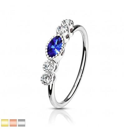Piercing Ring med Blå Sten og 4 Klare