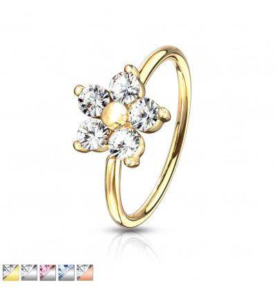 Piercing Ring med Krystal Blomst