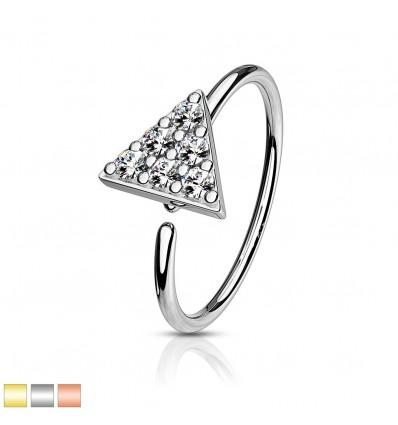 Piercing Ring med Krystal Trekant