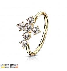 Piercing Ring med Krystal Kors