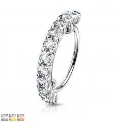 PIercing Ring med Halv Krystal Kant