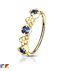 Piercing Ring med Firkant & Blomst