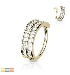 Piercing Ring med 2 Sten Rækker