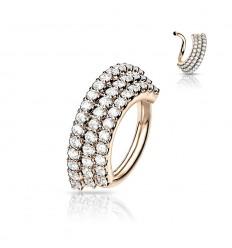 Piercing Ring med 3 Sten Rækker