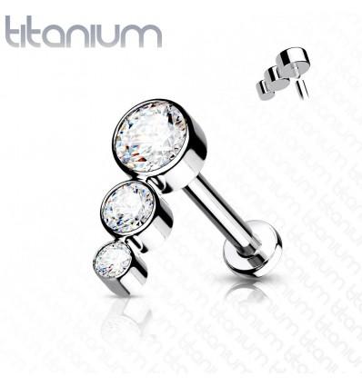 Labret i Titanium med 3 Sten