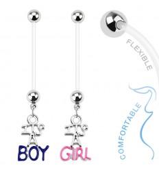 Navlepiercing med Boy & Girl