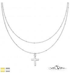 Dobbelt Halskæde med Kors