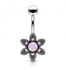 Navlepiercing med Pink Opalite Blomst