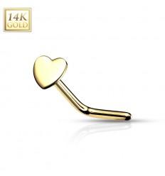 Næsepiercing med Hjerte i Ægte Guld