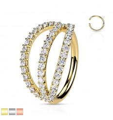Piercing Ring med Tripel Stenkant