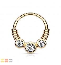 Piercing Ring med Wire og 3 Sten