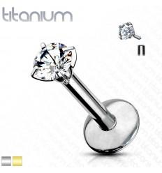 Labret i Titanium med Rund Sten