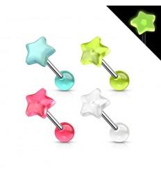 Tungepiercing med Selvlysende Stjerne