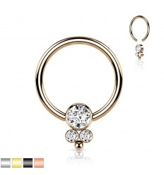 Piercing Ring med 3 Sten