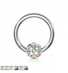 Piercing Ring med Krystal Kugle