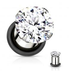 Stål Plug med O-ring og Klar Krystal